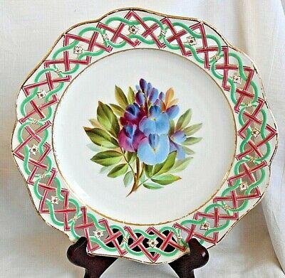 C19Th Minton Hand Painted Reticulated Plate Decorated With Flowers