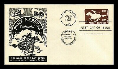Dr Jim Stamps Us Pony Express Centennial First Day Postal Stationery Cover