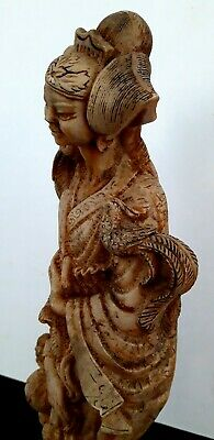 """Antique hand carved Japanese stone figurine fine intricate detail appx 18"""""""