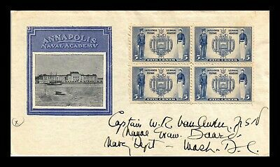 Dr Jim Stamps Us Naval Academy Annapolis Unused Scott 794 Block On Cover