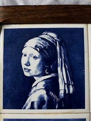 Antique Blue delft dutch tiles (Ruben Rembrandt) set of 6 tiles in oak frame