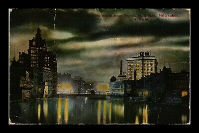 Dr Jim Stamps Us Night View Water Bridge Milwaukee Wisconsin Postcard Creased