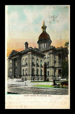 Dr Jim Stamps Us Court House Street View Milwaukee Wisconsin Postcard