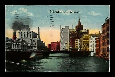 Dr Jim Stamps Us Milwaukee River View Wisconsin Postcard Creased 1916