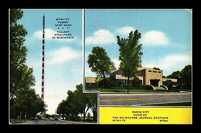 Dr Jim Stamps Us Wtmj Tv Tower Radio City Milwaukee Wisconsin Postcard