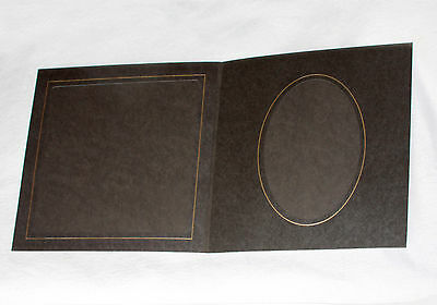 8INS X 8 INS WITH 7INS x 5INS OVAL ONE GATE FOLD BROWN SLIP IN PHOTO MOUNTS