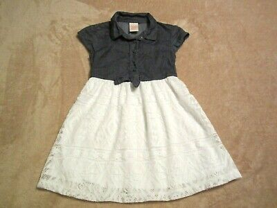 Baby Girls Toddler Faded Glory, Blue/White Geo Metric Lace Dress Size XS 4/5