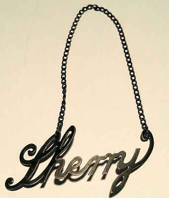 Antique Sterling Silver Liquor Bottle Decanter Tag SHERRY