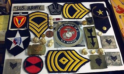 Junk Drawer Lot Various Military Items Patches Stickers Metal Buttons