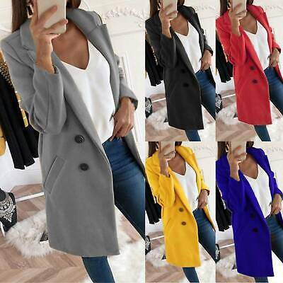 UK Womens Overcoat Woolen Trench Coat Ladies Winter Long Jacket Plus Size 8-22