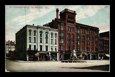Dr Jim Stamps Us St Charles Hotel Milwaukee Wisconsin Postcard Made In Germany