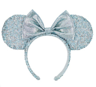 Disney Parks Teal Frozen Arendelle Aqua Minnie Mouse Ears Sequin Headband NEW
