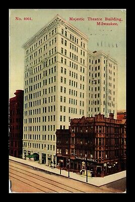 Dr Jim Stamps Us Majestic Theatre Building Milwaukee Wisconsin Postcard