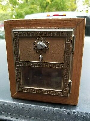 Vintage US Post Office PO Box Brass Door Wood Coin Bank Combo Lock