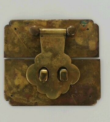 Vintage Chest Trunk Latch Lock Brass Padlock double Eye Hasp Hardware