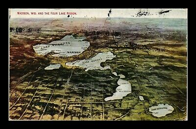 Dr Jim Stamps Us Aerial View Madison Wisconsin Four Lake Region Postcard