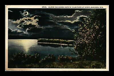 Dr Jim Stamps Us Lake Shore Path Night View Madison Wisconsin Postcard