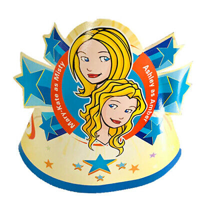 16PC KIDS PARTY HATS MARY KATE AND ASHLEY OLSEN AS MISTY AND AMBER TWINS