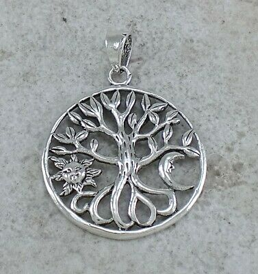 WHIMSICAL 925 STERLING SILVER SUN and MOON TREE OF LIFE PENDANT style# p1016
