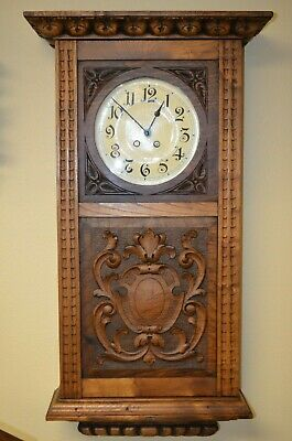 ANTIQUE GERMAN EXTRA LARGE LENZKIRCH WALL CLOCK late 1800's RARE!!!