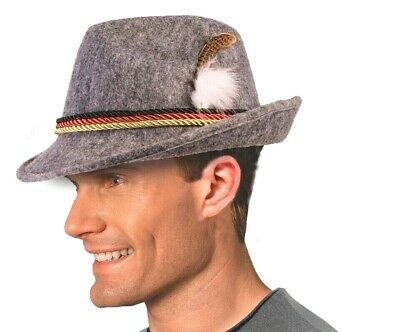 ADULT ALPINE GREY HAT Feather Cap Costume Swiss Alps German Octoberfest Bavarian