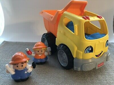 Fisher Price 2015 Little People Construction Dump Truck and 2 Figures