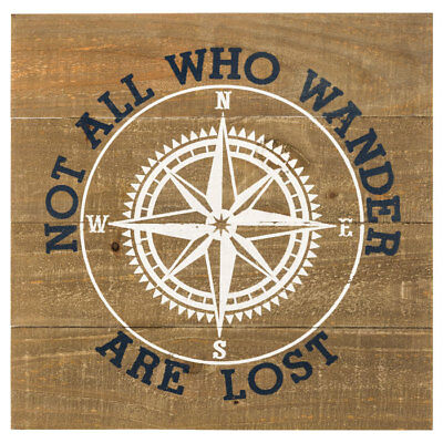 Nautical Decor Not All Who Wander Are Lost Wooden White Compass Wall Sign NEW