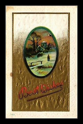 Dr Jim Stamps Us Best Wishes Winter Scene Topical Greetings Embossed Postcard