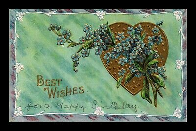 Dr Jim Stamps Us Best Wishes Flowers Heart Embossed Topical Greetings Postcard