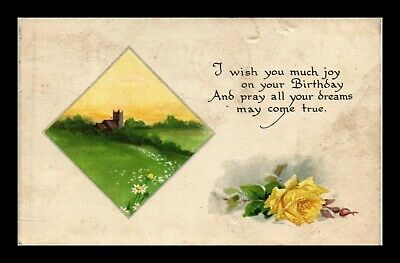 Dr Jim Stamps Us Birthday Wishes Country Scene Flower Topical Greetings Postcard