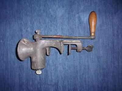 LARGE Antique Vintage Tinned KING No 80 Meat Grinder Counter Mount