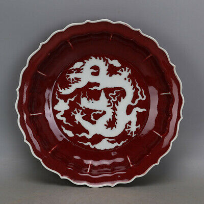 Chinese ancient antique hand make Red glaze dragon pattern plate a27