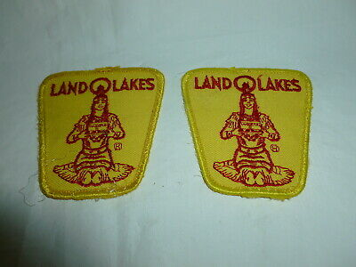 Two 3 Inch Land O Lakes Dairy Colorful Embroidered Cloth Patches  Lot Z-181