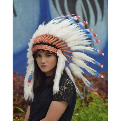 White Blue Red Small Indian Apache Native American Headdress Warbonnet