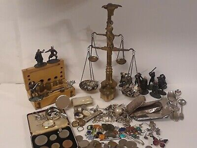 LQQK 268g Junk Drawer Sterling Silver Scrap Lot Justice Scales 14kt 1gGold Coins