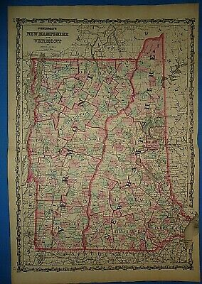 Vintage 1862 NEW HAMPSHIRE VERMONT MAP Old Antique Original JOHNSON'S Atlas Map