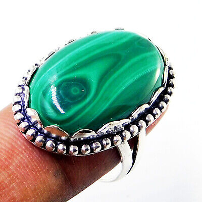 Raw Malachite 925 Sterling Silver Plated Handmade Jewelry Ring Size 5 To 12