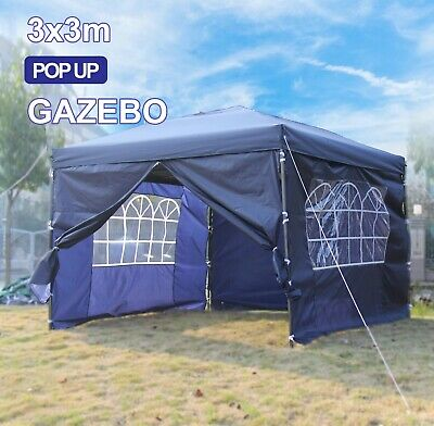 Pop Up Heavy Duty Garden Gazebo 3x3m Wedding Tent Marquee Canopy With Bars