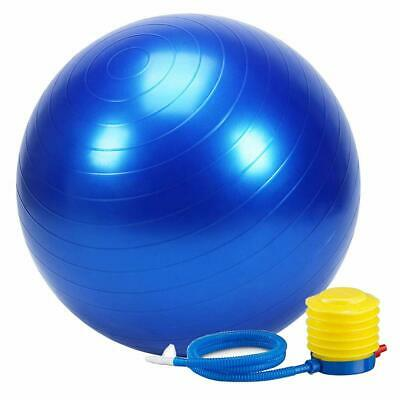 Balance Strength Trainer FitnessYoga Exercise Ball Foot Pump Blue 65cm US STOCK
