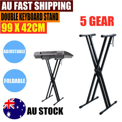 AU Folding Double Braced X Style Music Piano Keyboard Standing Adjustable Height
