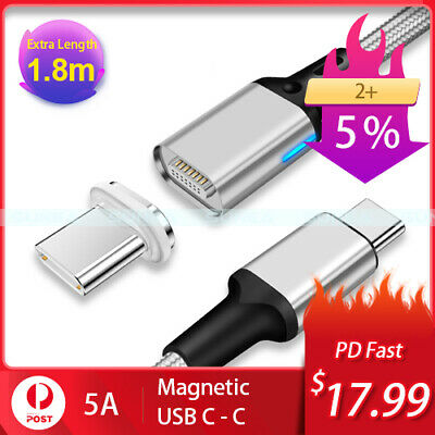 Magnetic Type C to C USB C Cable PD Fast Charge Data Charger 60W 1.8M MacBook