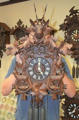 Antique German Black Forest Full Body Deer Quail Cuckoo Clock Rare!!!