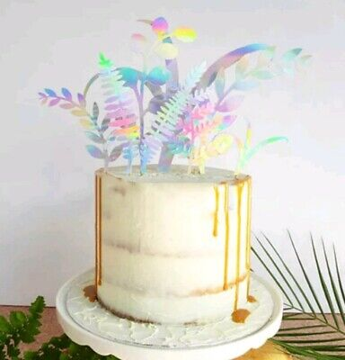 8pcs Nature Plant cake topper Jungle Party Mirror Leaves Tree cupcake toppers