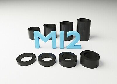 M12 Black Plastic Spacers Standoff Washer Nylon 3mm to 30mm Choice of Quantity.