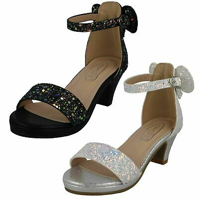 Girls Spot On Mid Heel Glitter Party Sandals Glitter Decoration H1R109