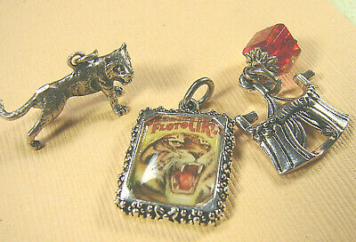 Vintage STERLING Silver TIGER, NEW Sil plate Tent & Tiger picture CHARM set of 3