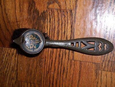 Antique Cast Iron Parks & Parks Shoe Polish Brush.. Look!