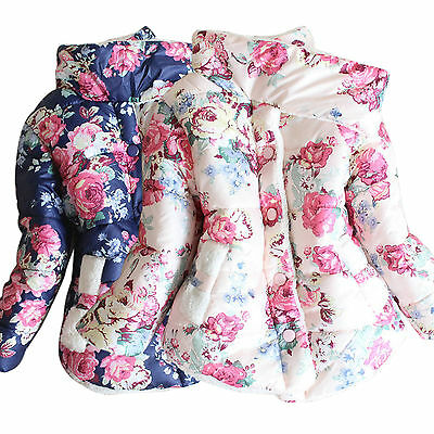 Kids Girls Floral Printed Jacket Coat Thick Fleece Outwear Snowsuit Winter Warm