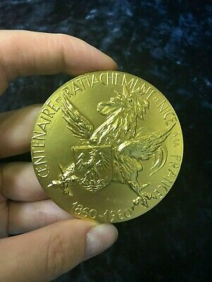 French Riviera Nice Art Vermeil medal by Famous Joly 150 gr Golden Gilt Silver
