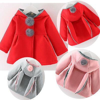 Kids Girls Bunny Hooded Cloak Coat Jacket Hoodies Rabbit Ear Outwear Winter